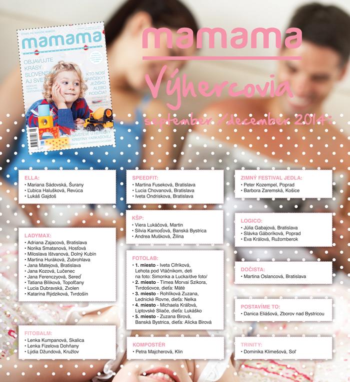 Výherkyne MAMAMA - Septmber / December - 2014